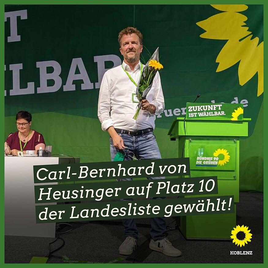 Carl-Bernhard von Heusinger auf Platz 10 der Landesliste gewählt – Rückenwind für den Direktkandidaten der Koblenzer Grünen im Wahlkreis 9