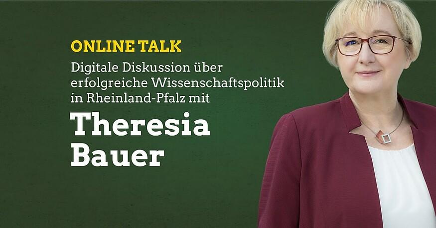 Digitale Diskussion über Wissenschaftspolitik mit Wissenschaftsministerin Theresia Bauer